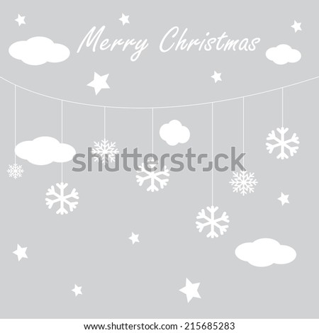 Vector wallpaper background with hanging clouds, stars and snowflakes/ christmas card - stock vector