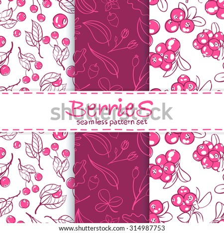 vector Wallpaper set of seamless patterns with images of juicy berries - stock vector