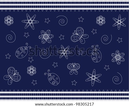 Vector wallpaper with summer symbols on blue background different uses - stock vector