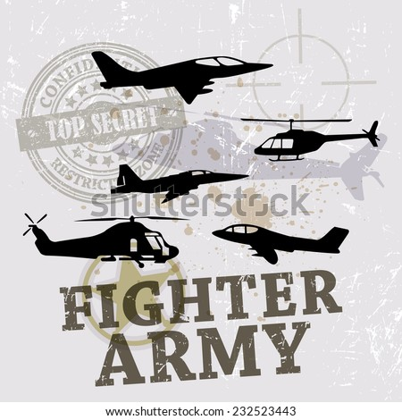 Vector War Theme Background / Fighter Army / Air Force  - stock vector