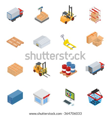Vector warehouse equipment icon set with cargo, scales, forklift, rack, pallet, warehouse, pallet truck, box, barrels, sea container, shop, personal computer and a basket - stock vector
