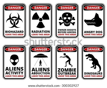 Vector warning humorous signs with sci-fi and rare hazards - vector set - stock vector