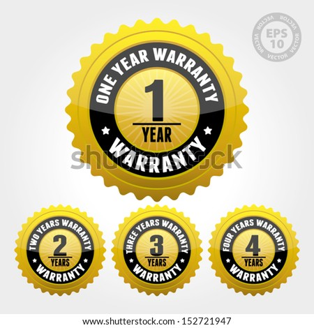 Vector : Warranty Badge and Sign with one, two, three, four years warranty - banner, sticker, tag, icon, stamp, label - stock vector