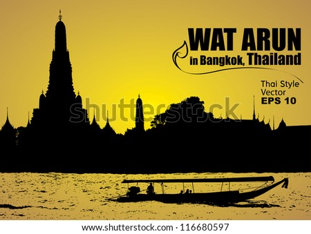 vector, Wat Arun in bangkok thailand - stock vector