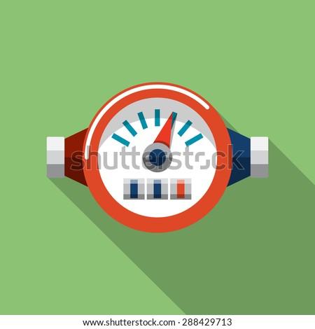 Vector Water Meter Flat Icon - stock vector