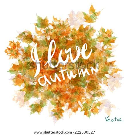 Vector watercolor autumn leaves maple leaf art flora - stock vector