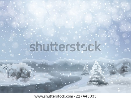Vector watercolor blue night landscape with snow-covered forest, river, fir tree - stock vector