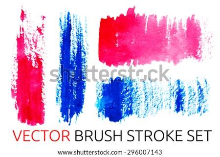 vector watercolor brush stroke set - stock vector