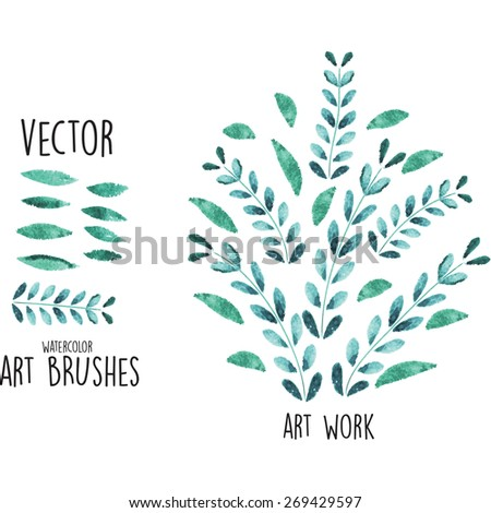 Vector watercolor brushes with leaves elements - stock vector