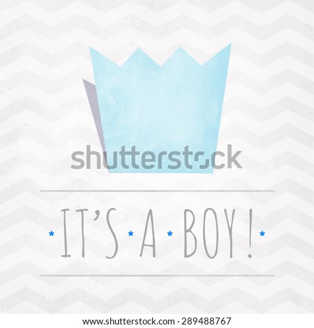 Vector watercolor card IT'S A BOY with crown and stars - stock vector