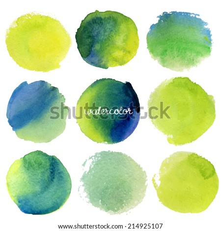 Vector watercolor circles - stock vector