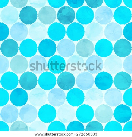 Vector watercolor circles seamless pattern. - stock vector