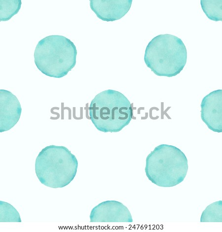 Vector watercolor circles seamless pattern (tiled). Retro hand drawn circles ornament. Round shapes pattern. Round shapes. Painted ornament. Grunge colorful rounds shapes - stock vector