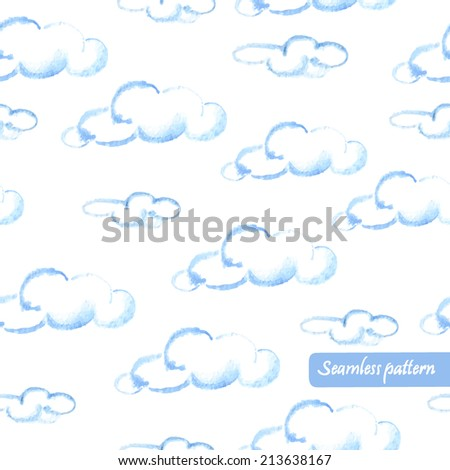 vector watercolor clouds seamless pattern in blue and white colors - stock vector