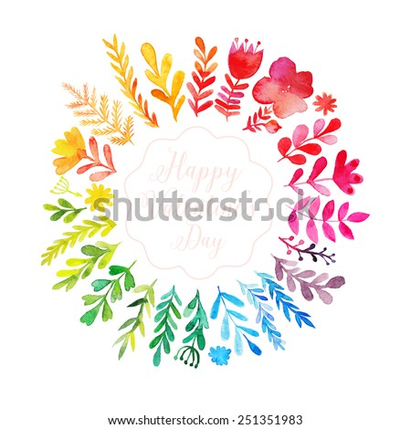 Vector watercolor colorful circular floral wreath with summer flowers and central white copy space for your text. Vector handdrawn wedding wreath with flowers. Save the date - stock vector