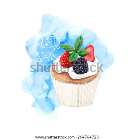 vector watercolor cupcake with cream and berries.   It can be used for card, postcard, cover, invitation, wedding card, mothers day card, birthday card, menu, recipe - stock vector