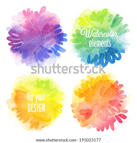 Vector Watercolor design elements. - stock vector