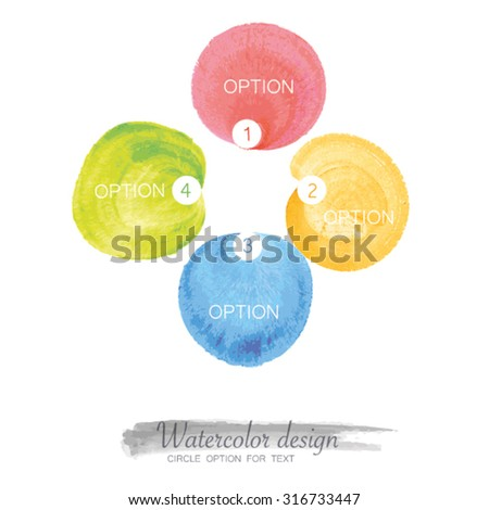 vector watercolor design for 4 option - stock vector