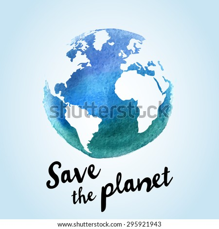 Vector watercolor earth isolated. Hand drawing planet illustration. Earth day. Globe sphere, map design - stock vector
