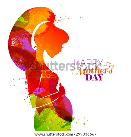Vector watercolor effect illustration of beautiful pregnant woman isolated on white background. Card of Happy Mothers Day - stock vector