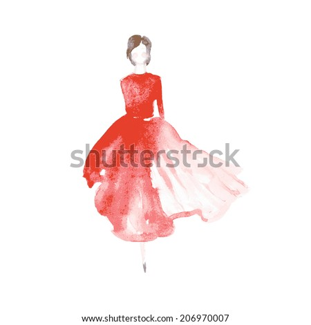 vector watercolor fashion catwalk model silhouette for beauty illustration - stock vector