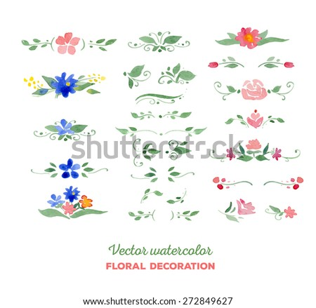 Vector watercolor floral elements. Flowers, leaves, bouquets. Great for wedding invitations, Mothers day cards, page decoration. - stock vector