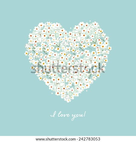 vector watercolor flower heart card. Invitation, postcard, cover, mothers day, easter, womens day, birthday. - stock vector