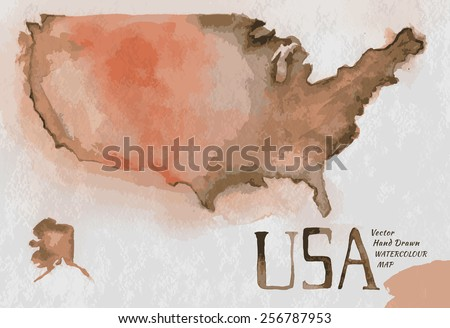 Vector watercolor hand drawn Illustration of USA map. Vector image. - stock vector