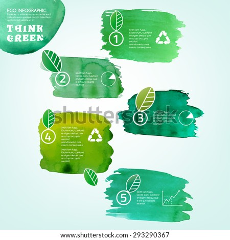 Vector watercolor hand drawn painted Illustration of environmentally friendly infographics. Think Green. Ecology Concept with paint splashes. Ideal elements for poster, brochure and leaflet design. - stock vector