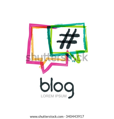 Vector watercolor hand drawn trendy blog icon. Abstract isolated logo. Colorful square speech bubbles with hashtag symbol. Design concept for blog, chat, social media network, forum, communication. - stock vector