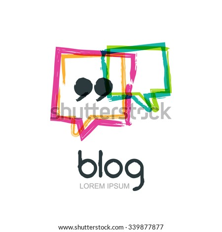 Vector watercolor hand drawn trendy blog icon. Abstract logo design template. Colorful square speech bubbles isolated. Concept for blog design, chat, social network, forum, communication. - stock vector