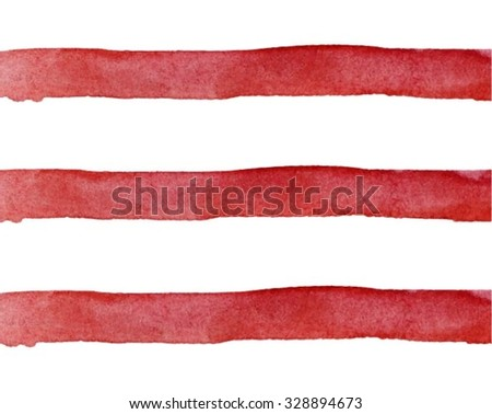 Vector Watercolor hand painted brush strokes, red and white striped background, Abstract bright colorful watercolor background, lines pattern - stock vector