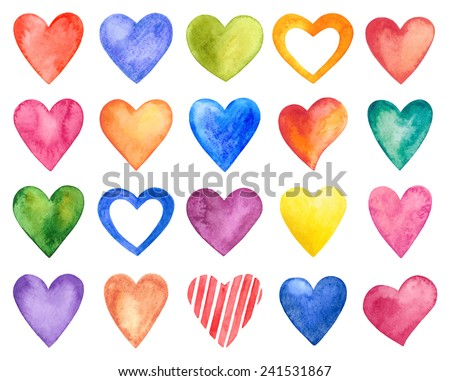 Vector watercolor hearts, Valentine Day. - stock vector