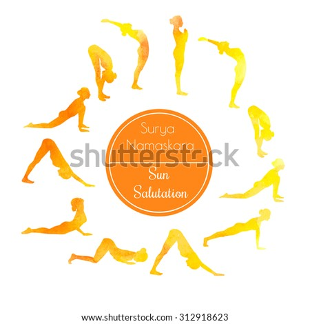 Vector watercolor illustration of yoga exercise Sun Salutation Surya Namaskara. Bright colorful silhouettes of slim women in different yoga positions in yellow and orange dyes. - stock vector