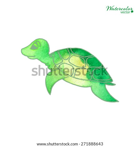 Vector watercolor illustration - turtle in cartoon style isolated on white background. - stock vector