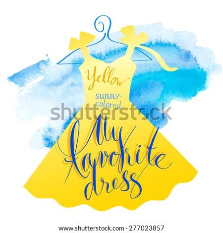 Vector watercolor image. Women dress yellow. - stock vector