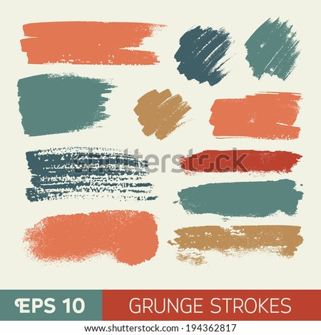 Vector watercolor ink spot set. Grunge brushstroke on paper texture. Dry brush strokes. Abstract composition for design elements - stock vector