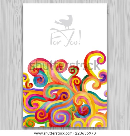 Vector watercolor invitation and greeting card with multicolored curl background on gray wood texture - stock vector