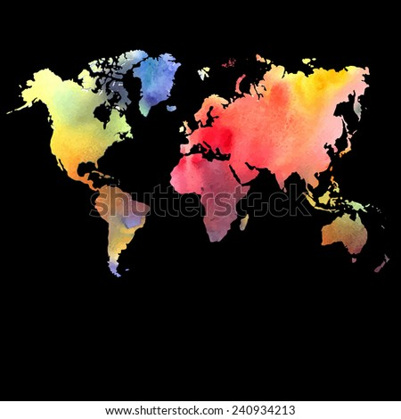 Vector watercolor map, web and mobile template. Corporate design web site. Atlas world map silhouette  - stock vector