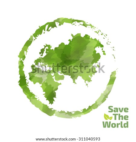 Vector watercolor painted Illustration of environmentally friendly World map. Think Green. Ecology Concept. Globe watercolor vector - stock vector