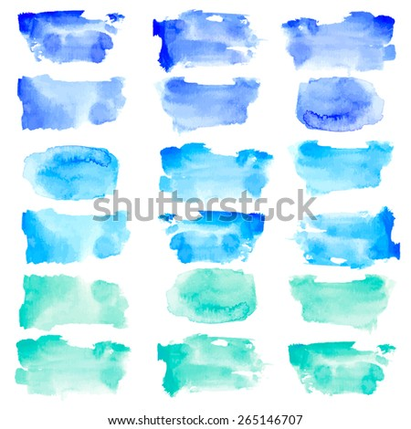 Vector watercolor rough rectangle shapes set in blue and mint color isolated on white - stock vector