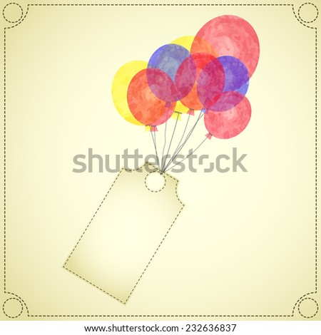 Vector watercolor sale discount label flying with colorful red, yellow and blue air balloon vintage style  - stock vector