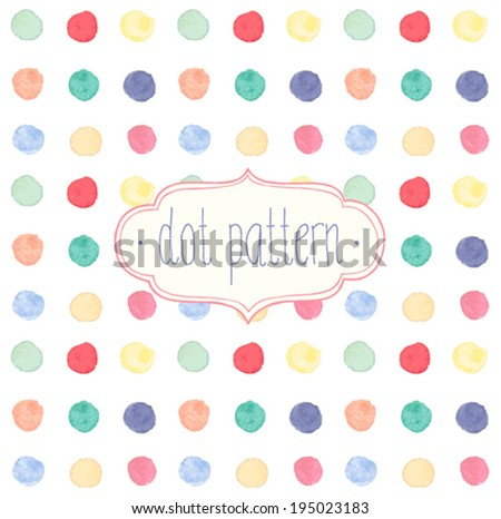 Vector Watercolor seamless dot pattern. - stock vector