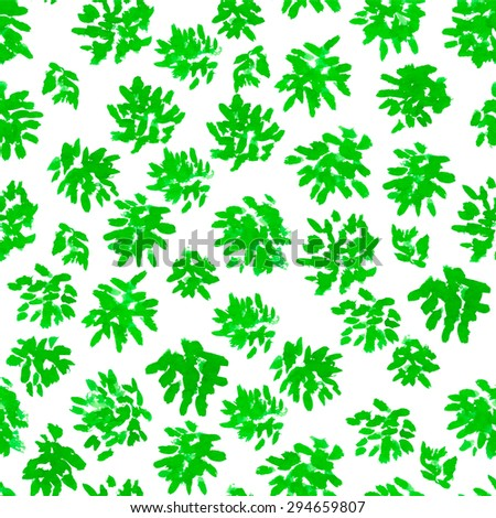 Vector watercolor seamless floral pattern with green bushes  - stock vector