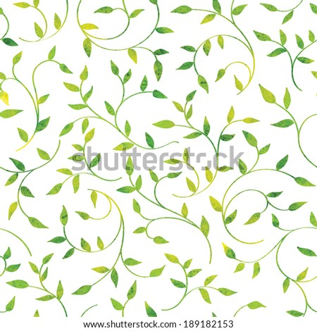 Vector watercolor seamless floral pattern with green leaves and branches - stock vector