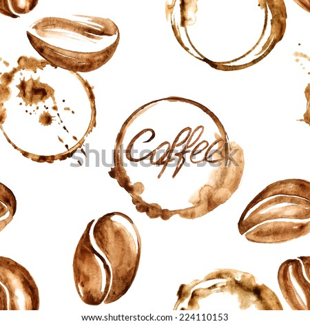 Vector watercolor seamless pattern with coffee beans and spilled coffee stains - stock vector