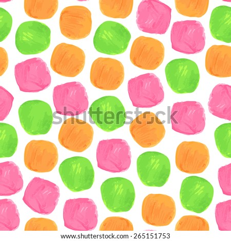 Vector Watercolor Seamless Pattern With Green Orange and Pink Blobs  - stock vector