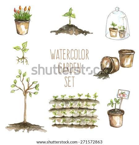 Vector watercolor set of garden items: sprouts, flowers, garden bed, pots, ground - stock vector
