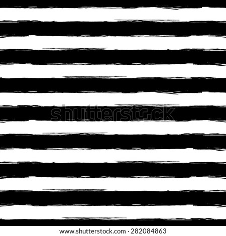Vector watercolor stripe grunge seamless pattern. Abstract black and white brush strokes background. - stock vector