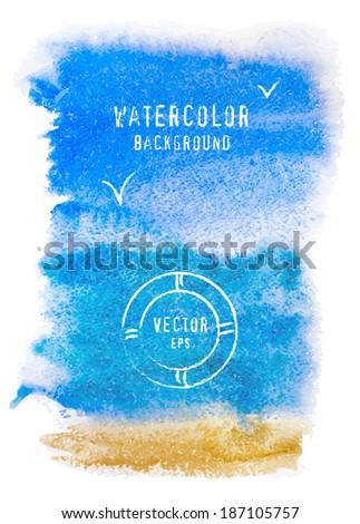 Vector watercolor texture. Grunge paper template. - stock vector